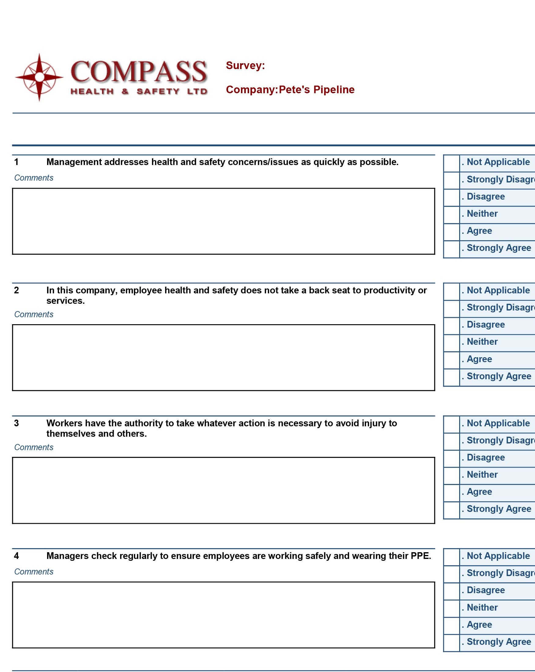 Compass Safety Perception Survey example